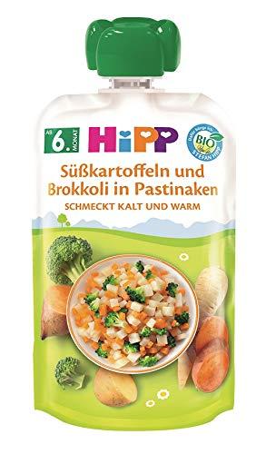 Hipp Bio Herzhafte Gemüse-Quetschbeutel ab 6. Monat Süßkartoffeln und Brokkoli in Pastinake, 7er Pack (7 x 100 g)