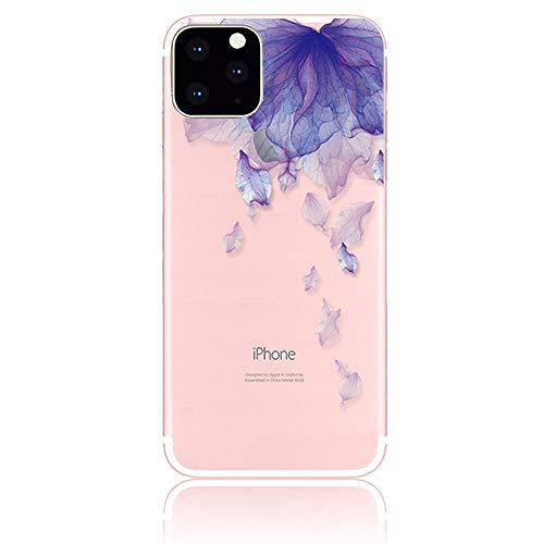 iPhone 12 対応 クリア ケース, CrazyLemon 綺麗 可愛い 上絵 紫の花びら 絵柄 透明 超軽 衝撃保護 アイフォン12 ソフト TPU シリコン ケース フィット感が拔群 - 柄08