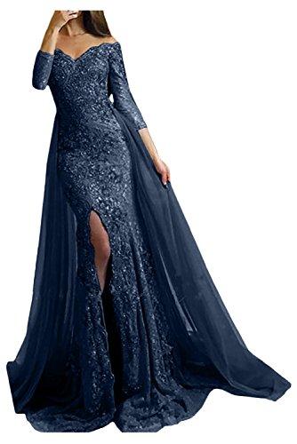 Victory Bridal Damen Fashion Etui Mermaid Abendkleider Lang Spitze Ballkleider Fest Hochzeitskleider mit Schleppe-58 Tinteblau