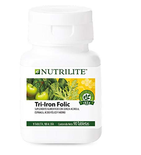 Ácido Fólico, Hierro y Vitamina C, Tri Iron Folic Nutrilite 90 Tabletas de Origen Orgánico