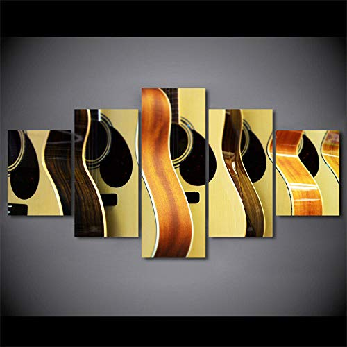 BHJIO Impresiones En Lienzo 5 Piezas Acoustic Guitar Music Shop Poster HD En Lienzo Modular Modern Interior Decorations Wall Art Tamaño Regalo 150 * 80Cm.