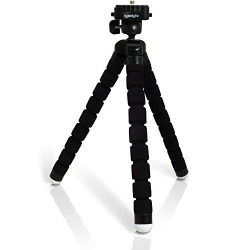 iGadgitz Lightweight Large Universal Flexible Foam Mini Tripod for SLR DSLR Cameras with Quick Release Plate – Black