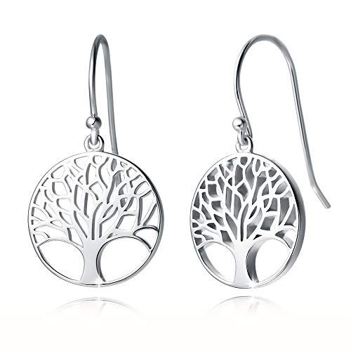 """Agvana Sterling Silver Tree of Life Earrings Family Tree Dangle Drop Earrings Anniversary Birthday Jewelry Valentines Day Gifts for Women Girls Wife Lover Mom Grandma Her, Diameter 0.6"""""""