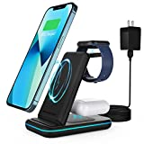 3 in 1 Charging Station, Foldable Wireless Charger, AOGUERBE Compatible with iPhone 13/13 Pro/12/12 Pro/11/SE/X/8/Airpods2/Pro, 15W Fast Compatible with Samsung phone/Galaxy Buds, All Qi-enable phones
