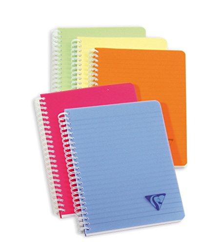 Clairefontaine 328546C - Un carnet à spirale Linicolor 180 pages 14,8x21 cm lignées, couverture polypro (plastique) couleur aléatoire Fresh