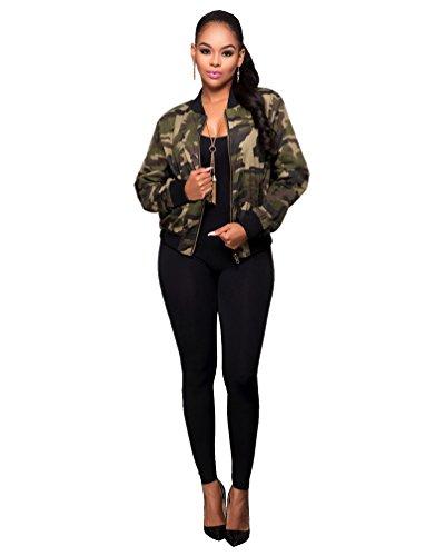 YOUJIA Damen Retro Casual Camouflage Baseball Jacke Militär Camo Bomberjacke Mantel Bikerjacke Übergangsjacke (Tarnung, S)