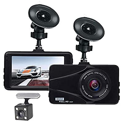 """CHEZAI Dash Cams for Cars, Car Dual Lens DVR Camera 1080P Full HD 3"""" LCD Screen 170°Wide Angle Dashboard Camera G-Sensor, WDR, Parking Monitor, Loop Recording from SPRIS"""