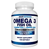 Omega-3 Fish Oil 4,080 mg - High EPA 1200 mg + DHA 900 mg Triple Strength Burpless Capsules - Arazo Nutrition (120 Count)