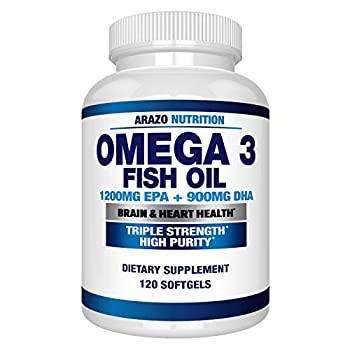 Omega 3 Fish Oil 4,080mg - High EPA 1200mg + DHA 900mg Triple Strength Burpless Softgels - Arazo Nutrition  120 Soft Gels