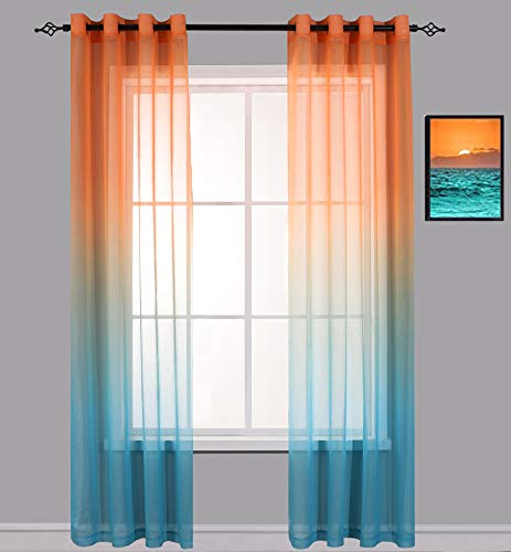 Cherhoo Ombre Window Semi Sheer Curtains,2 Tone Gradient Faux Linen Drapes for Girls Bedroom/Living Room,Set of 2 Window Curtain Panels (Orange and Green,52W×72L,Grommet Top)