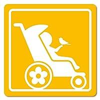 imoninn ベビーカー バギーサイン 子供用障害者マーク 障害児マーク 【マグネットタイプ】 車いすサイン・福祉車両用 (黄色)