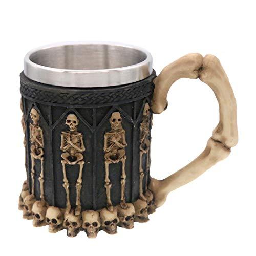 Halloween Skull Mug Tankard, Coideal Black Skeleton Coffee Ossuary Mug...