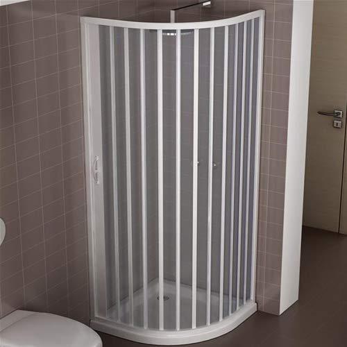 Cabina de ducha reducida de PVC 80 x 80 cm modelo Roxana semicircular paneles semitransparentes con apertura de fuelle lateral