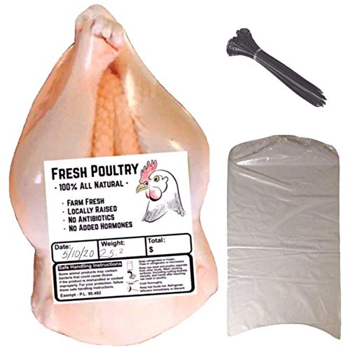 Poultry Shrink Bags- 30 Clear 13' x 18' Chickens or Turkey-w/zip ties included/2.5 Mil/Freezer Safe (30, 13X18)