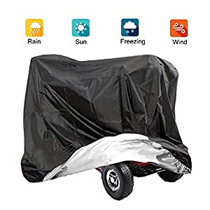 VVHOOY Mobility Scooter Cover,210DOxfordHeavyDutyWaterproof 4 Wheeled Power Scooter Travel Storage Cover All Weather Outdoor Protection67 x 24 x 46 inch/170 x 61 x 117 cm