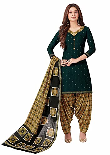 Miraan Women Cotton Unstitched Dress Material (BANDCOL823, Green, Free Size)