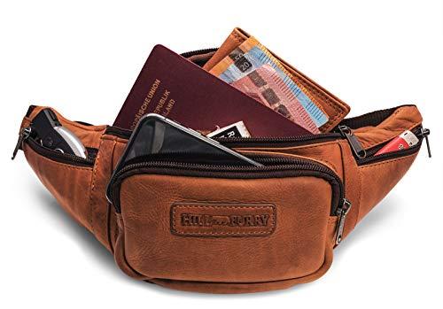 Hill Burry Echt-Leder Bauchtasche | Gürteltasche aus hochwertigem echtem Leder | Herren - Damen Wandertasche/Hüfttasche | Partytasche (Braun)