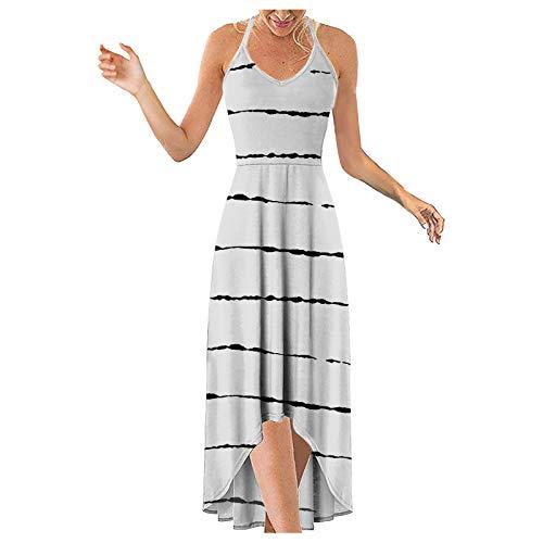 Sommerkleid Damen Schulter Ärmelloses V-Ausschnitt Maxikleider Trägerlos Open Back Beach Gestreiftes Kleid Unregelmäßiger Sexy Sling Print Dress Elegant Basic Casual Oberteile (Weiß, 40)