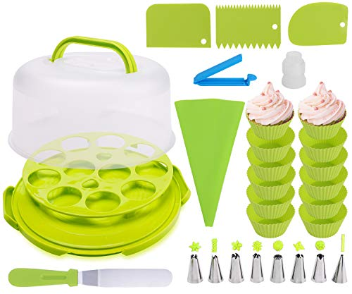 Round Cake and Cupcake Carrier with Handle, Cake transporter and holder with cover, Cupcake Storage Containers, Cupcake Stand with silicon mold and Decorating Tools (Neon Green)
