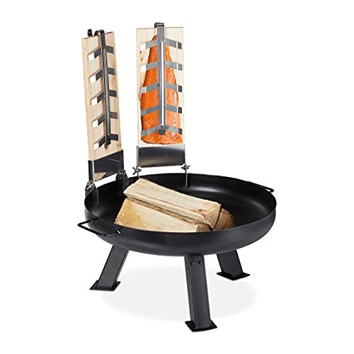 Relaxdays Flammlachsbretter mit Feuerschale, 2 Lachsbretter, Zedernholz, Eisen Feuerwanne 60 cm, Flammlachs Set, schwarz
