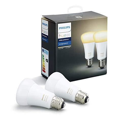 Philips Hue White Ambiance - Pack de 2 bombillas LED E27, 9W, iluminación inteligente, tonos de luz blanca cálida y fría regulable (compatible con Amazon Alexa, Apple HomeKit y Google Assistant)