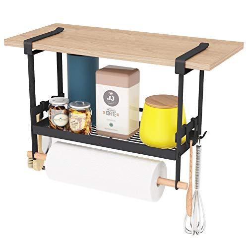 Unterregalkorb für Küchenvorratskammer, hängendes Gewürzregal Organizer Küchenablagekorb für Arbeitsplatte, Schrankorganisator Korbregal mit Papiertuchhalter und verstellbaren Haken