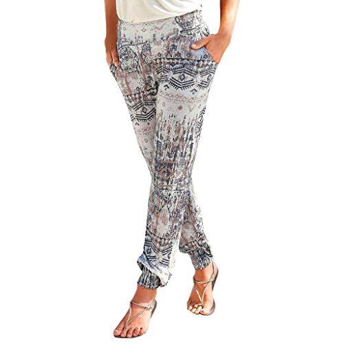 Clacce Damen Sommerhose   All-Over-Print Haremhose   Schlabberhose aus 75% Baumwolle   Luftige Urlaubshose mit Taschen   Leichte Sommer Hose   Weite Chillerhose mit und ohne Bündchen