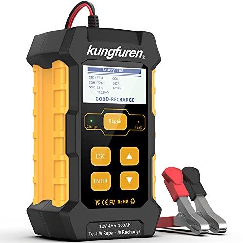 kungfuren Batterieladegerät 3-in-1 Universal Batterietester Impulsladetester, 12V-5A Autobatterietester KFZ Autobatterie Belastungs Tester für Auto Boot Motorrad und Mehr