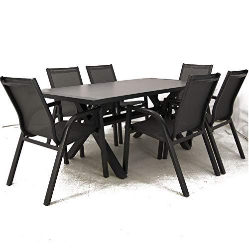 Edenjardi Conjunto Mesa y sillas de Exterior, Aluminio Reforzado Color Antracita, Mesa 180 cm + 6 sillones, Patas en Forma de X