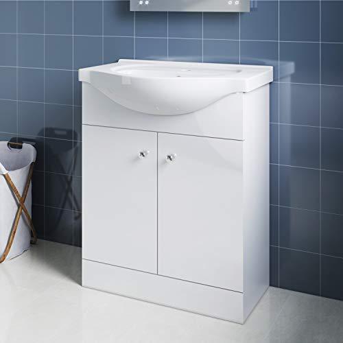 Elegant Badmöbel Waschbecken mit Unterschrank 2in1 Set Waschtisch bodenstehend Weiß Hochglanz 655mm