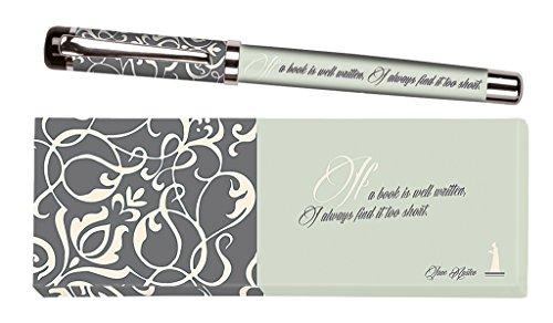 Moses libri_x Bolígrafo de tinta Jane Austen con mina intercambiable en una caja de regalo, color verde menta