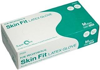 FEED(フィード) Skin Fit ラテックスグローブ パウダーフリー ポリマー加工 M カートン(100枚入×10ケース) (医療機器)
