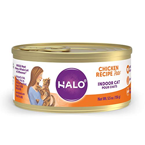 Halo Indoor Grain Free Chicken Recipe Pate Canned Cat Food, 5.5 oz., Case of 12, 12 X 5.5 OZ