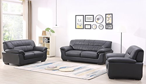Design Voll-Leder-Sofa-Garnitur-Polstermöbel-Ledergarnitur Ledercouch Sessel 327-3+2+1-S