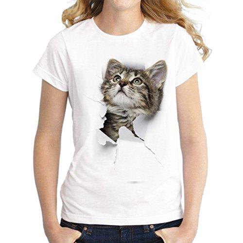 NiSengs Camisetas de verano para mujer, divertidas, 3D, diseño de gato impreso, casual, camiseta de manga corta