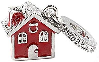 Amazon.com: 5Pcs Silver European Red Enamel Warm Family ...
