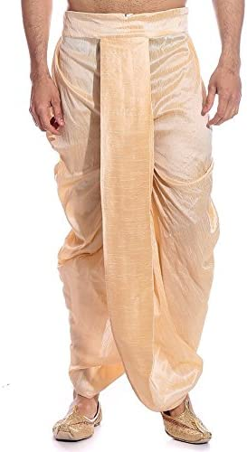 Traditional India's Gold A Manufacturer regenerated product surprise price is realized Dhoti Silk Blend Costume-Freesize-Ready