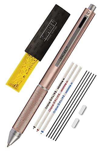 Online Multipen 4 en 1 oro rosa, bolígrafo y lápiz multifunción de metal, 3 minas de bolígrafo en azul, negro y rojo, 1 mina portaminas, incluye goma de borrar, en caja de regalo
