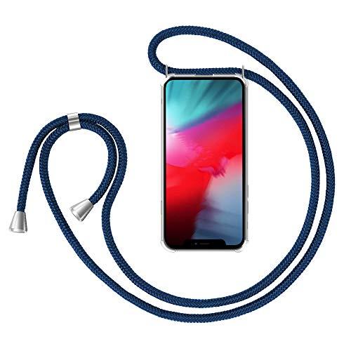 ILUXUS Handykette Hülle kompatibel mit iPhone 12 Pro/iPhone 12 Handyhülle, Transparent Silikon Smartphone Necklace Handyhülle mit Band - Hülle Hülle mit Kette zum umhängen in Navy Blau