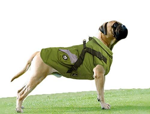Babydog Kleidung für Hunde, Haustiere, Mäntel, Winterjacke, weich, Hundegeschirr, Pullover mit Taschen (7 l, grün)