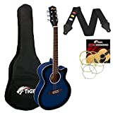 Tiger ACG1-BL34 Guitarra acústica de tamaño 3/4, guitarra acústica con cuerdas de acero para mayores de 9 años - Azul