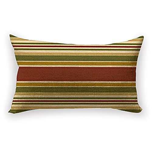 Reebos Funda de cojín de lino y algodón, diseño de rayas, color rojo y verde burdeos