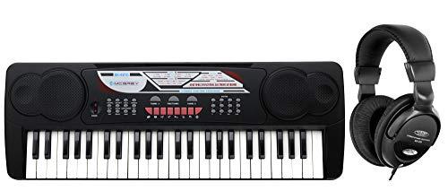McGrey BK-4910BK Keyboard Set - Kinder Keyboard mit 49 Tasten - Einsteigerkeyboard mit 16 Sounds und 10 Rhythmen - Piano mit Mikrofon für Gesang und Notenständer - Inkl. Kopfhörer - Schwarz