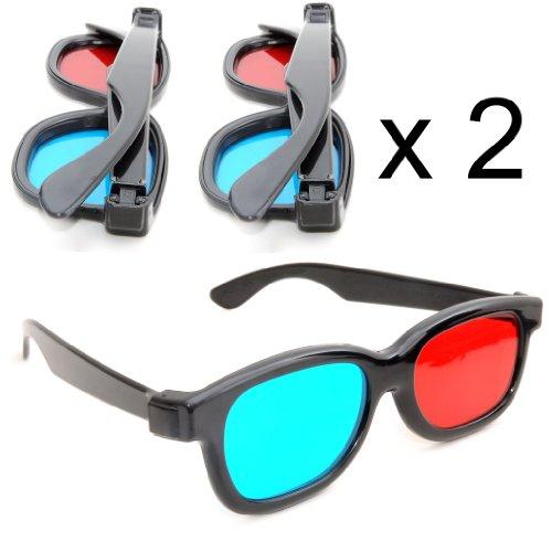 Juego de 2Gafas 3D anaglíficas (para TV o PC de Juegos (Rojo/Azul), 3D Gafas para televisor, 3D de Vasos con tecnología anaglyphen–Marca Ganzoo