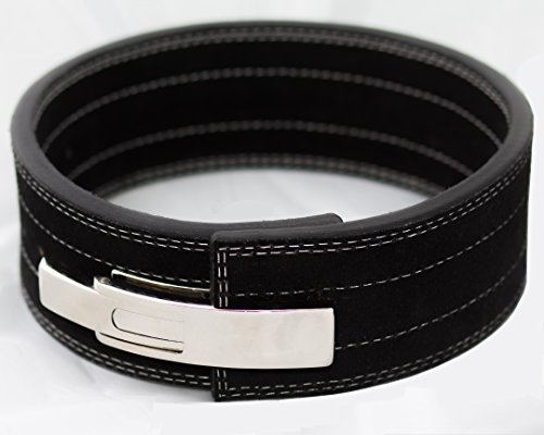 Force of Habit 10 MM Powerlifting Lever Belt Suede Leather 4' Wide Adjustable Quick Release Chrome Buckle Black Bodybuilding Crossfit Weightlifting Strongman Squats Deadlift (Medium)