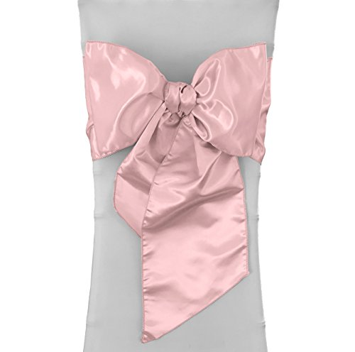 LA Linen Pack-10 Bridal Satin Chair Bows Sashes 8 by 108-Inch, Pink Light