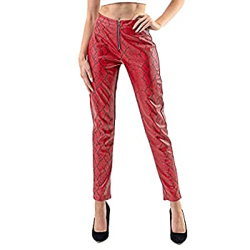 Edgy Land Girl s and Women s Slim-Sation Snakeskin Faux Leather Laminated Inner Trendy and Fashion Ankle Pant Red Small