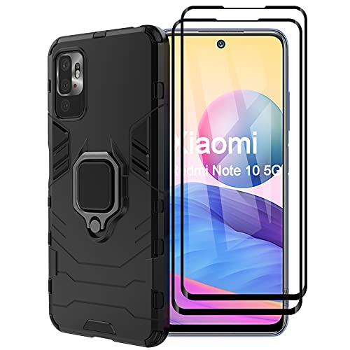 ESTH® Funda para Xiaomi Redmi Note 10 5G con 2 Piezas Protector de Pantalla, Giratorio Soporte de 360°, Compatible con Soporte Magnético para Coche, Carcasa Negro