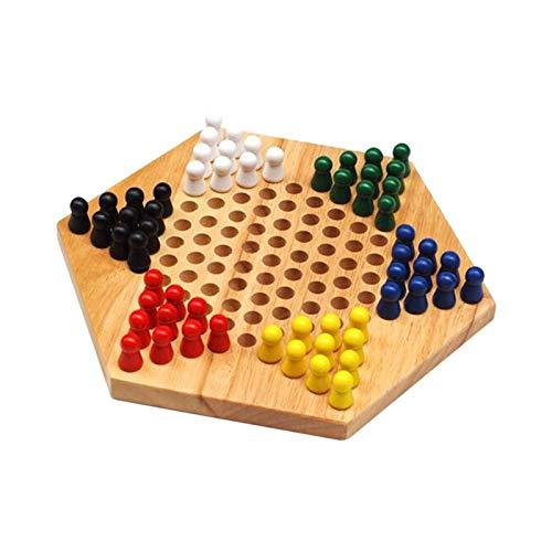 Zhice Traditionelles Sechseck-hölzernes chinesisches Checkers-Familienspiel mit 60 Pegs