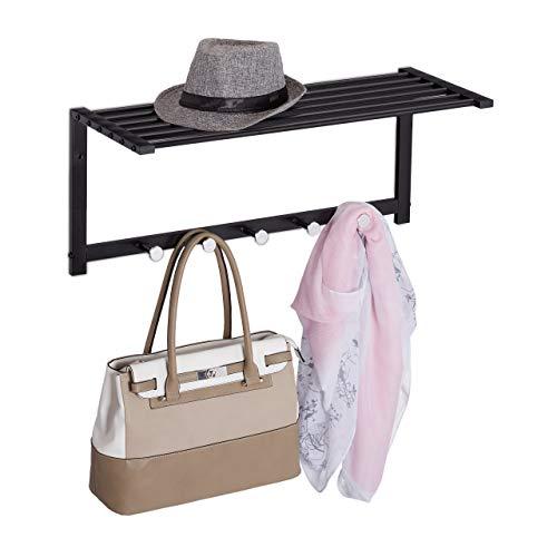 Relaxdays Wandgarderobe mit Ablage, Garderobenleiste 5 Haken, Flur & Bad, modern, Metall, HBT 28 x 65 x 25 cm, schwarz, 1 Stück